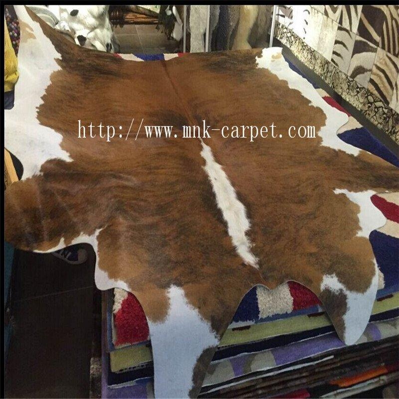 Modern Home Decoration Brown & White Cowhide Leather Floor Rug