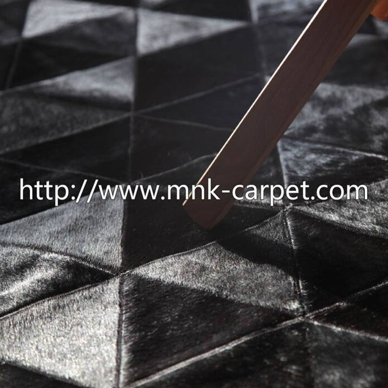 black style patchwork cowhide rug for living room