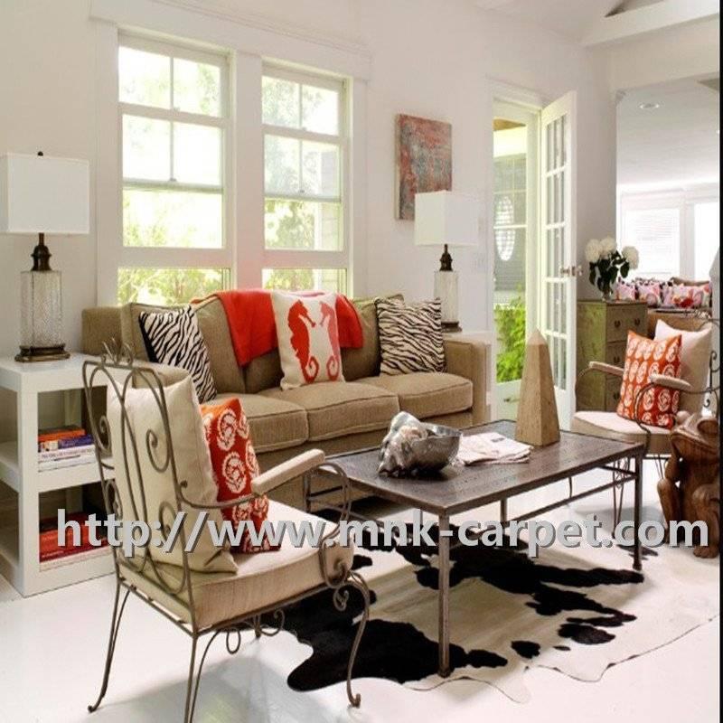 Novel Black And White Pattern Cowhide Rug Home Decor