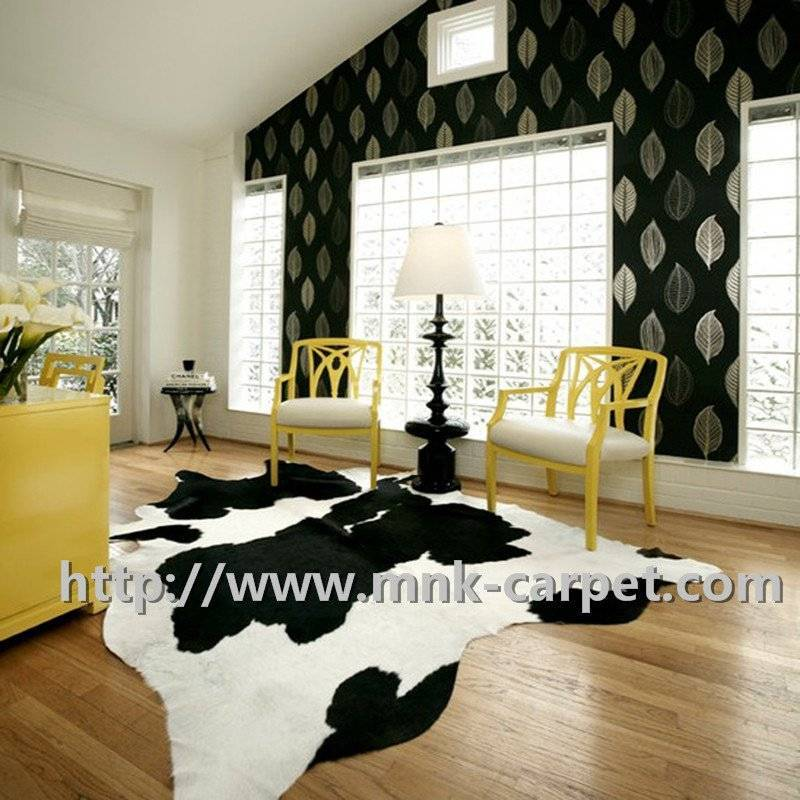 Black And White Pattern Natural Cow Skin Rug