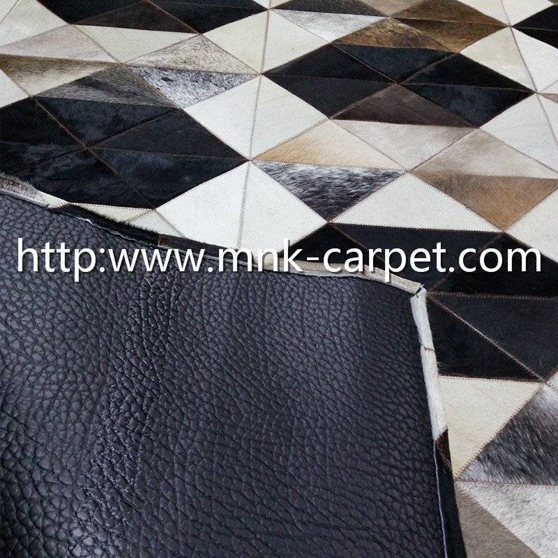Natural Grey Color Personality Style Patchwork Cowhide Rug